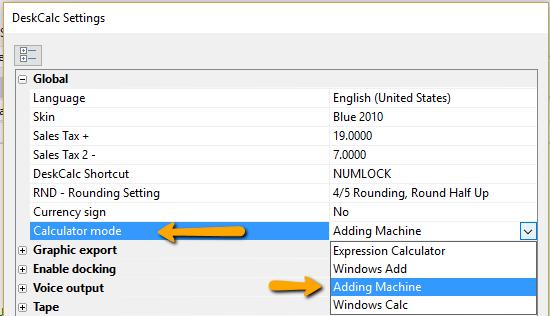 Calculator modes - Adding machine