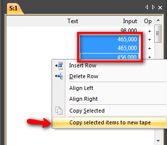 Copy values to new tape